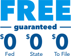 Free guaranteed. $0 federal, $0 state, $0 to file